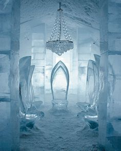 The main hall of the Icehotel in Jukkasjarvi, Sweden
