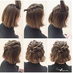 Braided crown hairstyle. Made on brown hair.