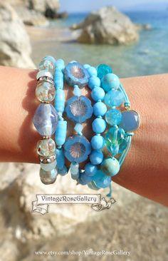 Sky Blue Multi Strand Bracelet, Aqua Boho Chic Bracelet , Czech Glass Bracelet , Summer Aqua Blue Bracelet by VintageRoseGallery Etsy Jewelry, Jewelry Crafts, Unique Jewelry, Strand Bracelet, Beaded Bracelets, Cool Gifts For Women, Etsy Earrings, Turquoise Bracelet, Boho Chic