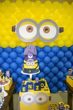 Cool cake and decorations at a Despicable Me birthday party! See more party planning ideas at CatchMyParty.com!