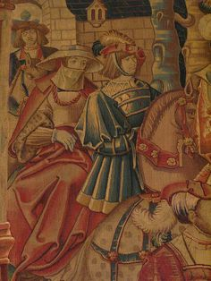 The Return of the Prodigal Son, Tournai, c 1520, wool and silk tapestry, Musee du Moyen Age, Paris. Detail: brilliant hats and riding clothes, ridiculous haircuts and severely annoyed horses. Every horse in this tapestry looks pissed off! Or possibly just pissed …