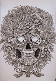 Mexican skull  Alex Konahin. If I didnt care how it looked when I was 50, I would get this as a tattoo