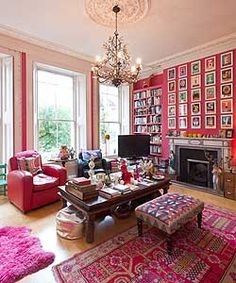 Pink living room with gallery wall – Aimee O'Brien – Pink living room with galle… – Indian Living Rooms Indian Living Rooms, My Living Room, Living Spaces, Grey Interior Doors, Pastel Interior, Room Colors, House Colors, Colours, My Home Design