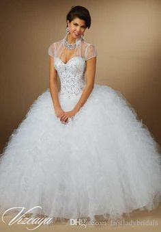White Quinceanera Ball Gowns Dresses With Jacket Ruffles And Puffy Tulle Sweetheart Beaded 2015 Princess Style Sweet 16 Dress Wholesale