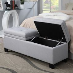 Slate grey tufted upholstered storage bench/ottoman is handcrafted for the ultimate in functionality and style. This versatile storage bench/ottoman works well as a storage ottoman, bed bench, coffee table, and foyer bench Storage Bench Seating, Seat Storage, Upholstered Storage Bench, Upholstered Ottoman, Ottoman Storage, Ottoman Bed, Fabric Storage, Hidden Storage, Small Bedroom Organization