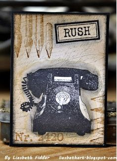 Darkroom Door Vintage Office rubber stamp set DDRS113. ATC created by Liesbeth Fidder.
