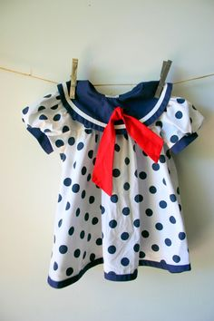 Vintage Classic Girls Sailor Dress