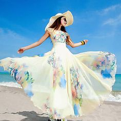 Женский+Пляжный+С+летящей+юбкой+Цветочный+принт+Платье,Макси+Круглый+вырез+Шифон+–+RUB+p.+1+796,53