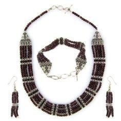 Amazon.com: Garnet Necklace Bracelet Earring Set for Women Sterling Silver Jewelry: ShalinCraft: Jewelry
