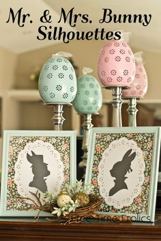 Free Time Frolics: Mr. & Mrs. Bunny Silhouettes {Easter Mantel}