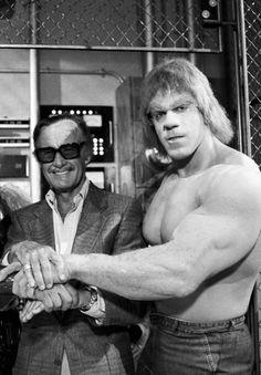 Stan Lee & Lou Ferrigno as The Incredible Hulk in the TV series