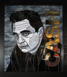 Custom Made Johnny Cash Stained Glass