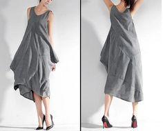Gray dress / Strap Dress/ Cotton linen Dress / Maxi by AiFang
