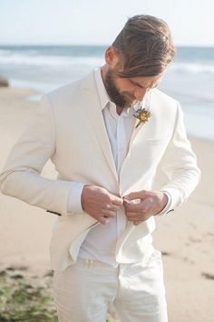 Beach All White Wedding Groom Style - - Wedding colors - wedding color palettes - wedding color ideas - All White wedding ideas Beach Wedding Groom Attire, Beach Groom, Beach Attire, Tuxedo Wedding, Wedding Beach, Summer Wedding, Trendy Wedding, Linen Wedding Suit, Wedding Outfits For Groom