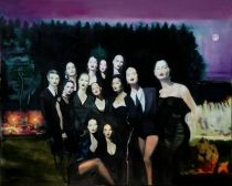 Sylwia Gorak, Thirteen Faces Of The Moon (based on D.Lynch & DG), oil, canvas, 146x119 cm,