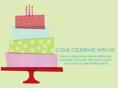 Stacking Cake birthday invite by Smilebox.  Mid-century graphic style is layered with music, motion, and cheerful colors. Choose your music, photo option and color scheme. Email or post with animation, or print.