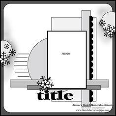 sketch savvy: January/February Sketch for Memorable Seasons March 2011 Album Scrapbook, Scrapbook Layout Sketches, Scrapbook Templates, Scrapbook Designs, Card Sketches, Scrapbook Paper, Scrapbooking 1 Photo, Photo Sketch, Sketch 2