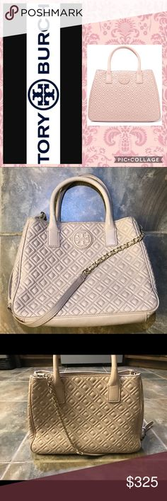 "Tory Burch Marion in Natural Lyst 12"" x 5"" x 4.5"". Great used condition! Some wear on the handles as shown but not noticeable when wearing!! Lush diamond quilting and tonal logo medallion make this bag irresistible!!! Tory Burch Bags Shoulder Bags"