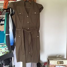 Olive green military inspired dress. Express military inspired dress.  Beautiful silver buttons, tie around waist.  Size 8. Express Dresses