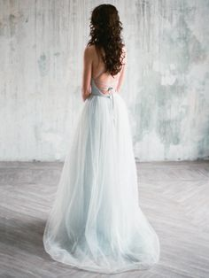 Tara gray blue colored unique wedding dress a-line open