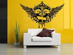 Amazon.com : Wall Room Decor Art Vinyl Sticker Mural Decal Sword Skull Wings Big Large AS1052 : Baby