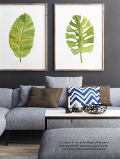 Green Leaf Watercolor Painting, Banana Tropical Palm Leaf, Monstera Set 2 Leaves Art Print Green Wall Decor, Kitchen Illustration Gift Idea