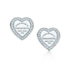 Return to Tiffany™ mini heart tag earrings in 18k white gold with diamonds. | Tiffany & Co.