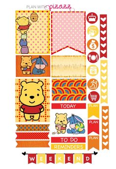 You will receive one sheet of matte finish die cut stickers. The sheet includes super cute WINNIE THE POOH Disney Inspired theme stickers Disney Planner, Planner Supplies, Planner Ideas, Planner Decorating, Printable Planner Stickers, Disney Winnie The Pooh, Erin Condren Life Planner, Planner Organization, Planner Pages