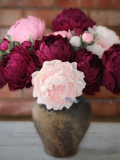 Items similar to Bouquet of paper flowers, high quality crepe paper peonies - choose how many do you need - 5 or 10 . wedding flowers bouquet paper wedding on Etsy Paper Flower Centerpieces, Paper Flower Arrangements, Wedding Centerpieces, Burgundy Wedding Flowers, Flower Bouquet Wedding, Floral Wedding, Bridal Bouquets, Flower Bouqet, Wedding Set