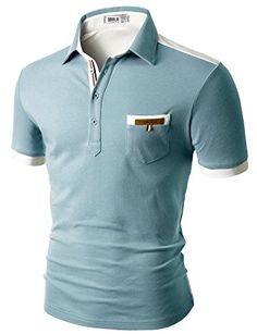 Mens Back Color Blocked Short Sleeves Polo Shirts With Pocket Point - -  Clothing 0e91716dc62a