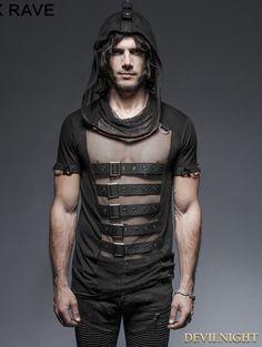Black Gothic Hooded Mesh T-Shirt for Men - Devilnight.co.uk