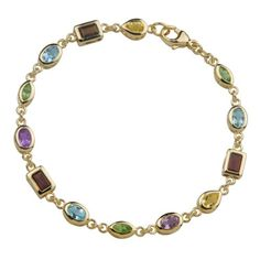 18k Gold Plated Sterling Silver Multi-Gemstone Bracelet, 7.5″ $65.99