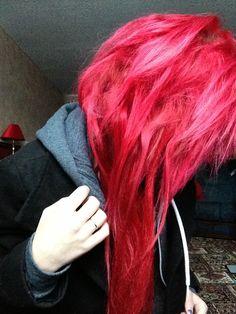 25 ideas hair red bright rouge for 2019 Korean Hair Color, Men Hair Color, Hair Color Dark, Cool Hair Color, Red Purple Hair, Bright Red Hair, Bright Hair Colors, Colourful Hair, Hair Colours