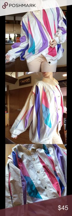 Court Jester 80's Puffer Pleat Easter Jacket Brighton collection by Susan girl morale made in Australia. One-size-fits-all says the tag the fabric is polyester and cotton. Funky music video chic! Rock star stage jacket. Bright rainbow pastel colors in purple teal pink and lavender. Harlequin. Circus stripes. Collectible. Second to last Button off. No rips or pilling. Smoke free home. Dancer. Hip hop. Jazz. Lock n pop. Vintage Jackets & Coats Puffers