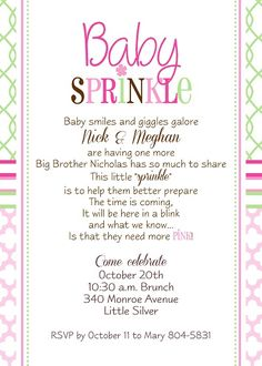 """Sprinkle"" Invitations wording wish I would have found"