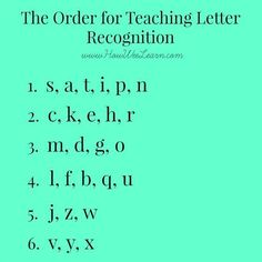 The order for teaching letter recognition, and why! Plus a ton of fun games and activities to have little ones learn the alphabet, letter sounds, and how to print in no time!: alphabet Teaching Letter Recognition - what order to introduce letters Teaching The Alphabet, Teaching Reading, Teaching Letter Sounds, Teaching Toddlers Abc, Alphabet Games For Preschoolers, How To Teach Reading, How To Teach Phonics, Alphabet Learning Games, Learning Phonics