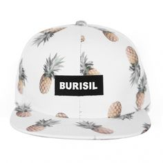White Pineapple Print Burisil Snapback Baseball Caps Hats