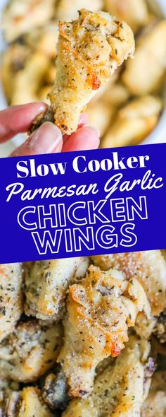 Slow Cooker Garlic Parmesan Chicken Wings Recipe- slow cooker chicken wings in a garlic parmesan butter sauce for fall off the bone flavor everyone loves! Parmesan Wings Recipe, Baked Garlic Parmesan Chicken, Crispy Baked Chicken Wings, Garlic Chicken Wings, Chicken Tenders, Slow Cooker Huhn, Slow Cooker Recipes, Easy Chicken Wing Recipes, Recipe Chicken