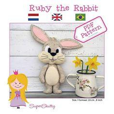 PDF felt pattern Ruby the Rabbit, instand download