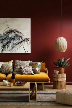 Need a new garden or home design? You're in the right place for decoration and remodeling ideas.Here you can find interior and exterior design, front and back yard layout ideas. Color Terracota, Living Room Red, Warm Colours Living Room, Ethnic Living Room, Condo Living, Living Spaces, Red Rooms, Red Walls, Burgundy Walls
