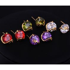 12mm 18K Gold Plated Fashion Peacock Shape Inlaid Zircon Ladies Copper Earrings