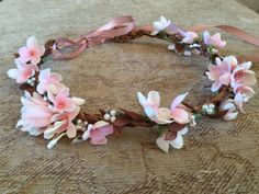 Pink and brown floral crown, Halo, headband, garland weddings, brides, bridesmaids, flowergirl, birthdays, hair accessories by HeavenlyHaloBoutique on Etsy https://www.etsy.com/listing/219542504/pink-and-brown-floral-crown-halo