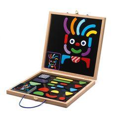COFFRET GÉOBONHOMME GA987 Produit standard 12345 1 note(s) - 1 avis Créez des personnages variés et loufoques à l'aide des 35 pièces en bois aimantées. Un jeu magnétique avec des couleurs vives, des motifs et un fond noir qui apporte un fort contraste visuel, notamment pour les enfants malvoyants. Livré avec 2 ca