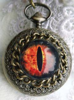 Dragon eye pocket  watch steampunk dragon by Charsfavoritethings, $50.00