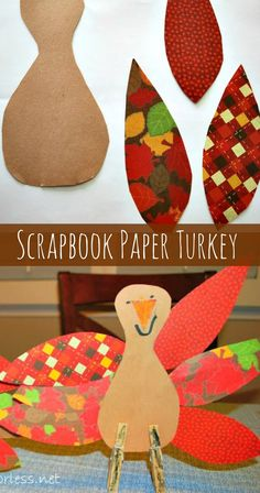 Scrapbook Paper Thanksgiving Turkey Craft - Mess for Less