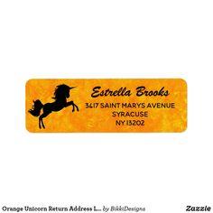 Shop Orange Unicorn Return Address Labels created by BikkiDesigns. Custom Return Address Labels, Address Label Template, Label Templates, Customized Gifts, Gift Tags, Unicorn, Letters, Writing, Words