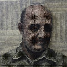 Look closely, this is made of screws placed in different lengths into a canvas then painted on the heads....Laguna Beach, CA Artist Andrew Myers