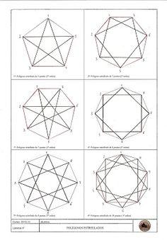 E. PLÁSTICA Y VISUAL 4º ESO ciencias: Lámina 11. POLÍGONOS ESTRELLADOS Geometric Symbols, Geometric Shapes, Geometry Art, Sacred Geometry, Corel Draw Tutorial, Geometric Drawing, Islamic Patterns, Norse Symbols, Technical Drawing