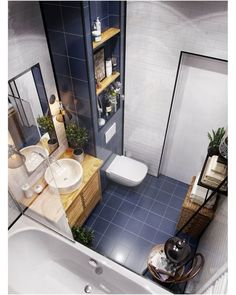 If you have a small bathroom in your home, don't be confuse to change to make it look larger. Not only small bathroom, but also the largest bathrooms have their problems and design flaws. Bathroom Design Small, Bathroom Layout, Bathroom Interior Design, Bad Inspiration, Bathroom Inspiration, Modern House Design, Small Apartments, Home Decor, Toilet