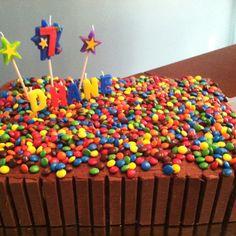 Our son's 7th Birthday KitKat cake-so easy!